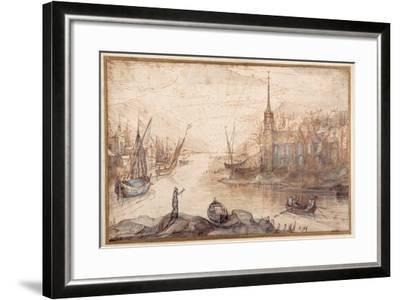 A Harbour Scene with Shipping and a Church at Sundown-Cornelis Claesz Van Wieringen-Framed Giclee Print