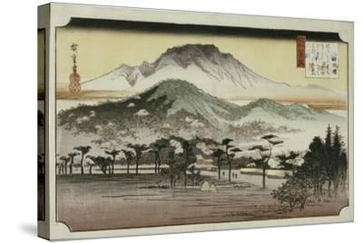 Evening Bell at Mii Temple, from the Series 'Eight Views of Lake Biewa'-Ando Hiroshige-Stretched Canvas Print