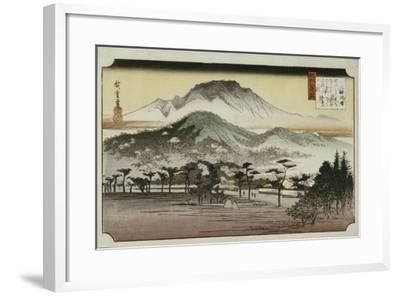 Evening Bell at Mii Temple, from the Series 'Eight Views of Lake Biewa'-Ando Hiroshige-Framed Giclee Print