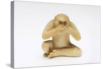Speak No Evil, One of the Three Wise Monkeys-Japanese School-Stretched Canvas Print