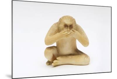 Speak No Evil, One of the Three Wise Monkeys-Japanese School-Mounted Giclee Print