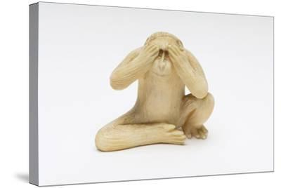 See No Evil, One of the Three Wise Monkeys-Japanese School-Stretched Canvas Print