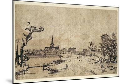 Landscape with Water, the Village of Amstelveen in the Background, C.1654-55-Rembrandt van Rijn-Mounted Giclee Print