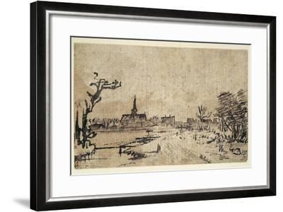 Landscape with Water, the Village of Amstelveen in the Background, C.1654-55-Rembrandt van Rijn-Framed Giclee Print
