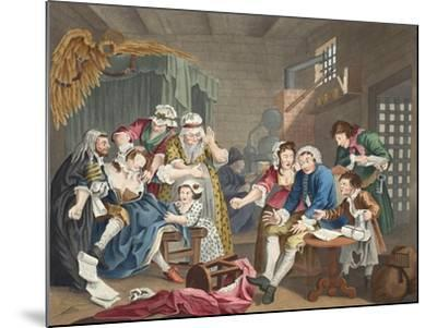 The Rake in Prison, Plate Vii, from 'A Rake's Progress', Illustration from 'Hogarth Restored: the…-William Hogarth-Mounted Giclee Print