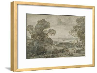 Landscape with Christ Preaching the Sermon on the Mount-Claude Lorraine-Framed Giclee Print