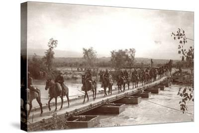 Londoner's Bridge across the The Jordan River with Mounted Anzac Troops Crossing, C.1917-18-Capt. Arthur Rhodes-Stretched Canvas Print