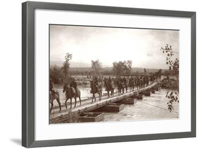 Londoner's Bridge across the The Jordan River with Mounted Anzac Troops Crossing, C.1917-18-Capt. Arthur Rhodes-Framed Photographic Print