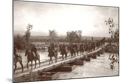 Londoner's Bridge across the The Jordan River with Mounted Anzac Troops Crossing, C.1917-18-Capt. Arthur Rhodes-Mounted Photographic Print