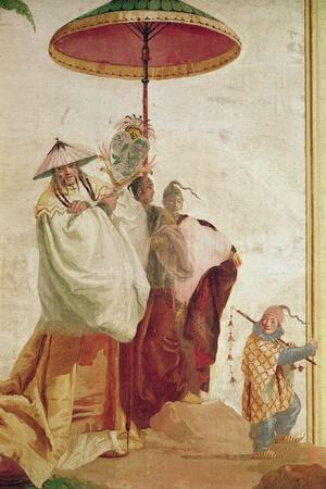 The Walk of the Mandarin-Giandomenico Tiepolo-Stretched Canvas Print