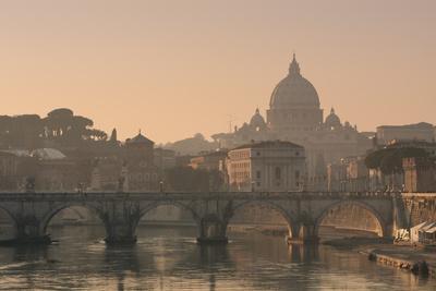 St Peter's Basilica and Ponte Sant Angelo, Rome, Italy--Premium Photographic Print