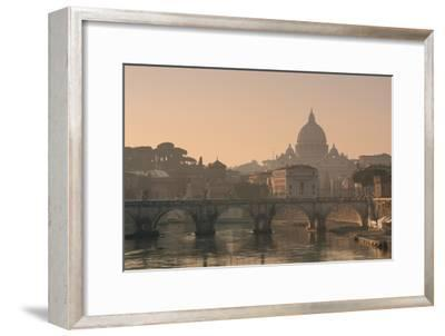 St Peter's Basilica and Ponte Sant Angelo, Rome, Italy--Framed Photographic Print