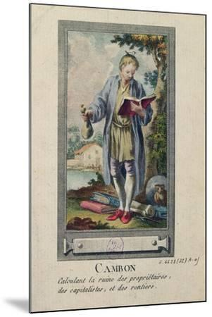 Caricature of Cambon Calculating the Ruin of the Proprietors, the Capitalists and the Rentiers--Mounted Giclee Print