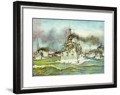 Flying Squadron of the United States Navy During the Spanish-American War, 1898--Framed Giclee Print