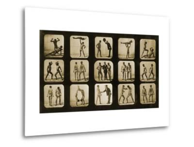Athletes Posturing, from the 'Animal Locomotion' Series, C.1881-Eadweard Muybridge-Metal Print