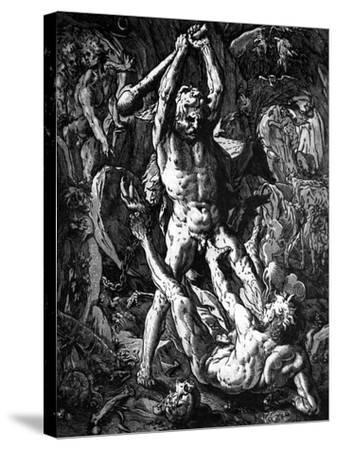 Hercules and Cacus, 1588-Hendrik Goltzius-Stretched Canvas Print