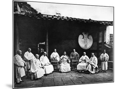 The Abbot and Monks of Kushan Monastery, C.1867-72-John Thomson-Mounted Photographic Print
