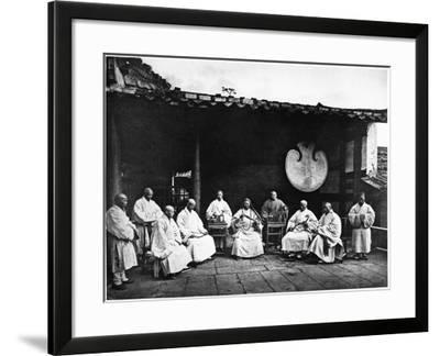 The Abbot and Monks of Kushan Monastery, C.1867-72-John Thomson-Framed Photographic Print