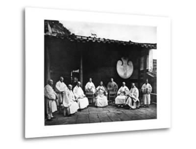 The Abbot and Monks of Kushan Monastery, C.1867-72-John Thomson-Metal Print