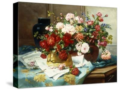 Still Life with Flowers and Sheet Music, C.1877-Jules Etienne Carot-Stretched Canvas Print