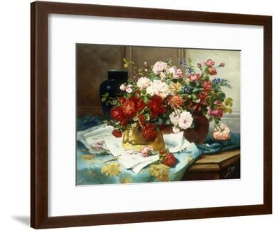 Still Life with Flowers and Sheet Music, C.1877-Jules Etienne Carot-Framed Giclee Print
