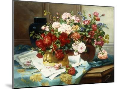 Still Life with Flowers and Sheet Music, C.1877-Jules Etienne Carot-Mounted Giclee Print