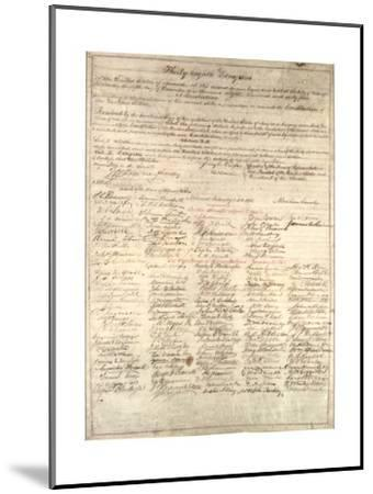 Congressional Copy of the Thirteenth Amendment Resolution, February 1 1865-Abraham Lincoln-Mounted Giclee Print