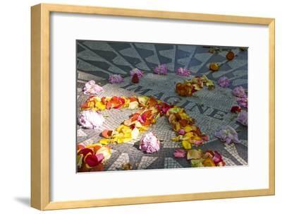 John Lennon Tribute in Strawberry Fields in Central Park, New York--Framed Photographic Print