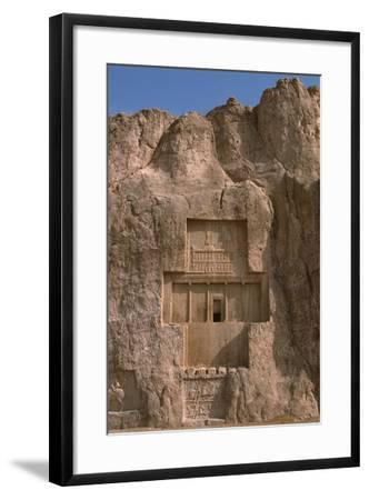 Tomb of Darius I the Great and Equestrian Victory of Bahram II--Framed Photographic Print