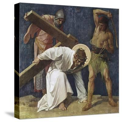 Jesus Falls the First Time (3rd Station of the Cross) 1898-Martin Feuerstein-Stretched Canvas Print