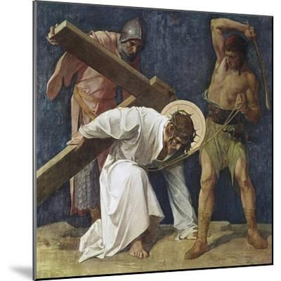 Jesus Falls the First Time (3rd Station of the Cross) 1898-Martin Feuerstein-Mounted Giclee Print