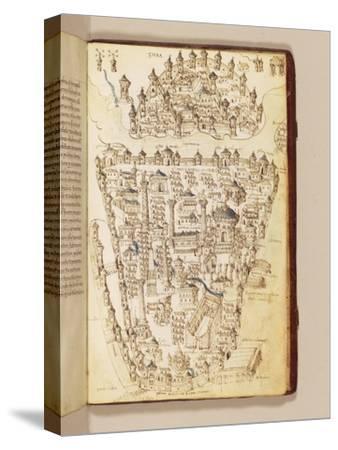 Map of Constantinople, Illustration from the 'Liber Insularum Archipelagi'-Cristoforo Buondelmonti-Stretched Canvas Print