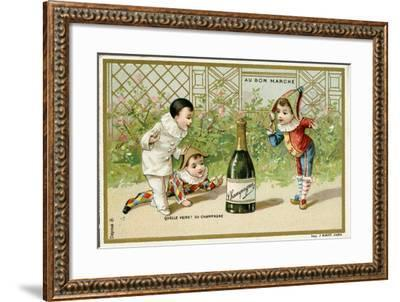What Luck! a Bottle of Champagne', Promotional Card for the Parisian Department Store 'Au Bon…--Framed Giclee Print