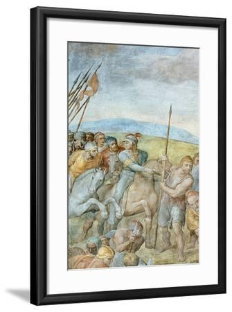 Group of Roman Soldiers with their Leader Pointing Towards to Saint Peter on the Cross, Detail of…-Michelangelo Buonarroti-Framed Giclee Print
