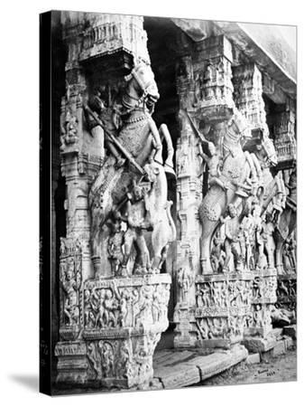 Carved Horse Pillars in Ranganatha Temple, Srirangam, 1869-Samuel Bourne-Stretched Canvas Print
