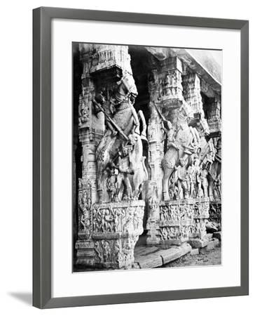 Carved Horse Pillars in Ranganatha Temple, Srirangam, 1869-Samuel Bourne-Framed Photographic Print