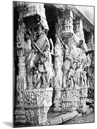 Carved Horse Pillars in Ranganatha Temple, Srirangam, 1869-Samuel Bourne-Mounted Photographic Print