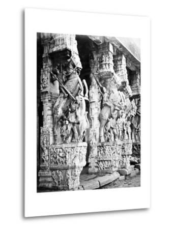 Carved Horse Pillars in Ranganatha Temple, Srirangam, 1869-Samuel Bourne-Metal Print