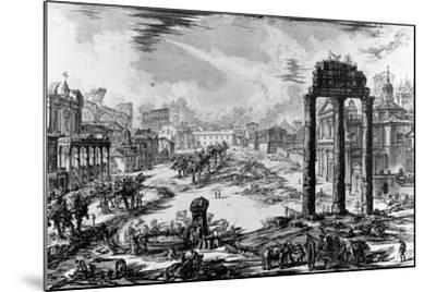 View of the Roman Forum, from the 'Views of Rome' Series, 1758-Giovanni Battista Piranesi-Mounted Giclee Print