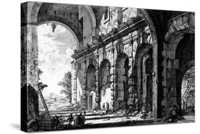 View of the Remains of the Temple of Claudius Near the Church of Santi Giovanni E Paolo, from the…-Giovanni Battista Piranesi-Stretched Canvas Print