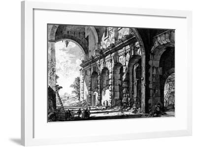View of the Remains of the Temple of Claudius Near the Church of Santi Giovanni E Paolo, from the…-Giovanni Battista Piranesi-Framed Giclee Print