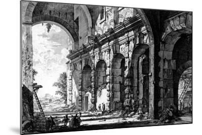 View of the Remains of the Temple of Claudius Near the Church of Santi Giovanni E Paolo, from the…-Giovanni Battista Piranesi-Mounted Giclee Print