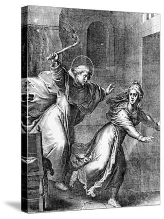 The Young Thomas Aquinas Chases a Temptress from His Room--Stretched Canvas Print