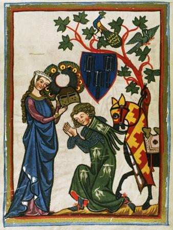 Der Schenk Von Limburg, Ministerial Swabian (Mid 13th Century) Says Goodbye to His Lady before…--Framed Giclee Print