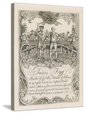 James Figg's Trade Card Designed by Hogarth-William Hogarth-Stretched Canvas Print