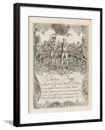 James Figg's Trade Card Designed by Hogarth-William Hogarth-Framed Giclee Print