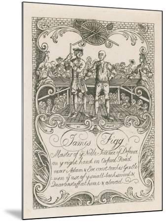 James Figg's Trade Card Designed by Hogarth-William Hogarth-Mounted Giclee Print