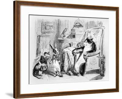 The Cat, the Weasel and the Little Rabbit, Illustration for 'Fables' of La Fontaine (1621-95),…-J^J^ Grandville-Framed Giclee Print