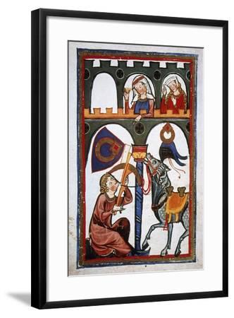 Rubin in a Castle Sending a Message to His Loved with a Crossbow. Codex Manesse (Ca.1300)--Framed Giclee Print