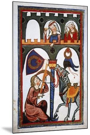 Rubin in a Castle Sending a Message to His Loved with a Crossbow. Codex Manesse (Ca.1300)--Mounted Giclee Print